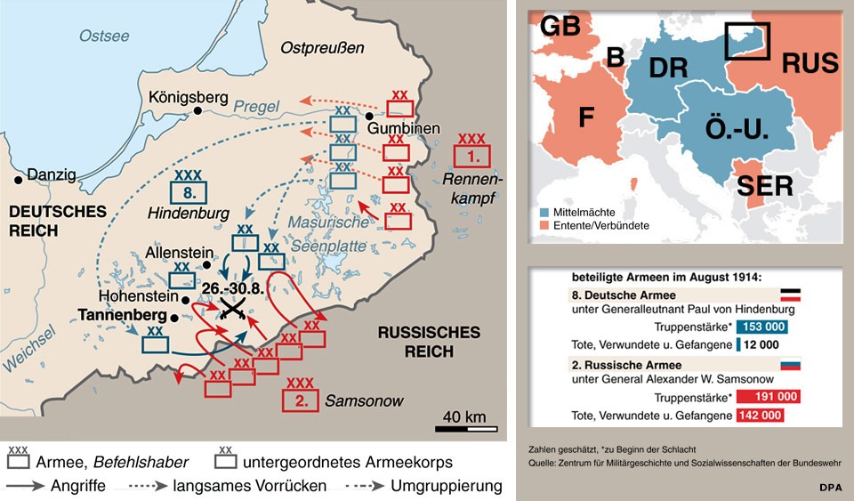 Karte Deutsches Reich 1914.Die Schlacht Bei Tannenberg